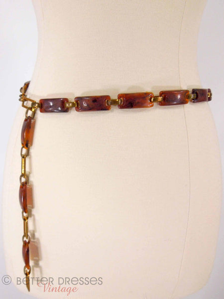 60s Faux Tortoise Link Belt - full view
