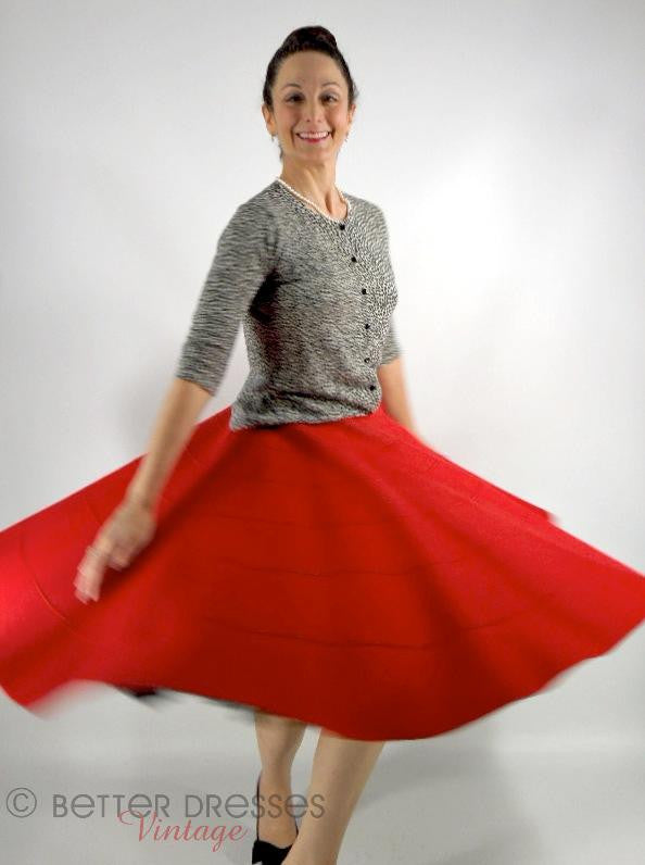 50s Red Full Circle Felt Skirt - sm