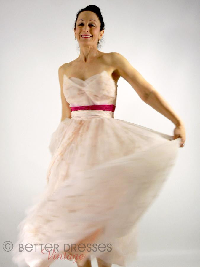 50s Pink Strapless Tea-Length Party Dress - sm