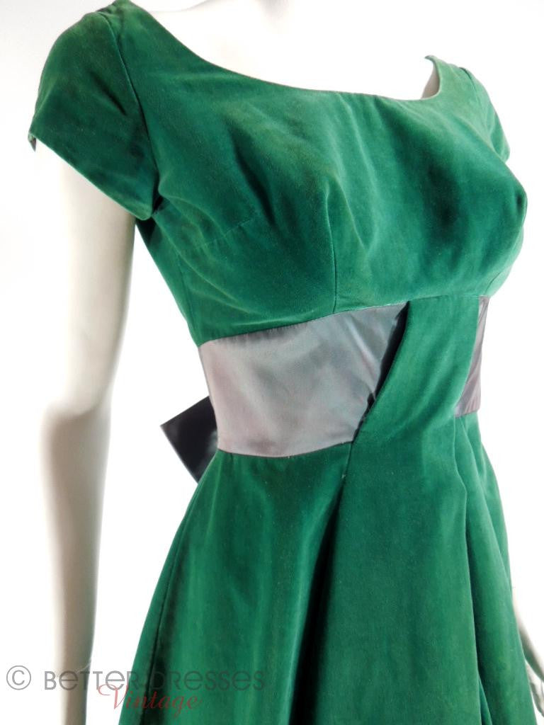 50s Green Velvet Party Dress - xs, sm