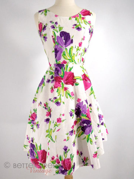 80s Does 50s Floral Dress - xs, sm