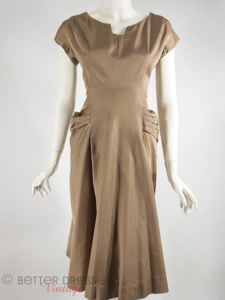 50s Light Brown Taffeta Party Dress - sm, med