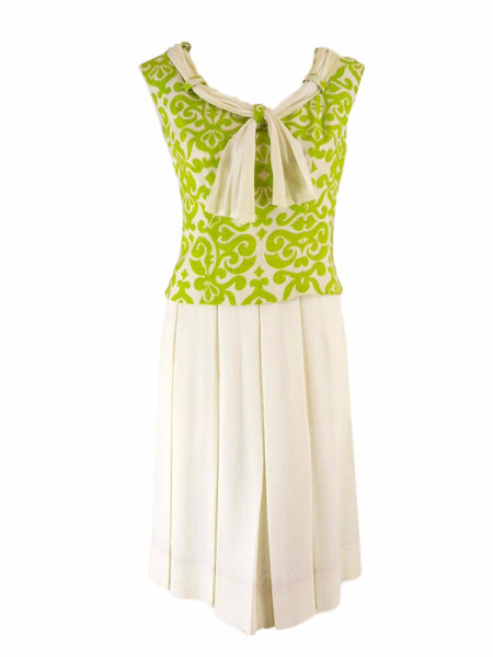 60s Apple Green and Cream Dress - front