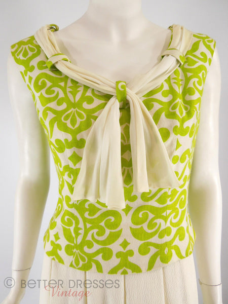 60s Apple Green and Cream Dress - close front