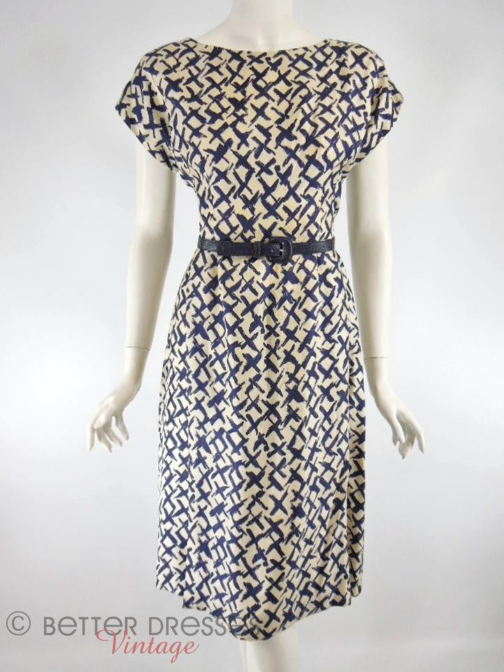 Vtg 50s/60s Graphic Print Silk Dress - with our belt