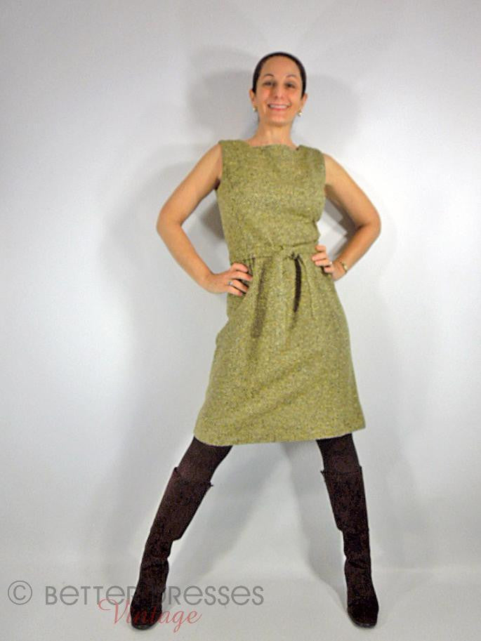 1960s Jumper Dress in Olive Tweed