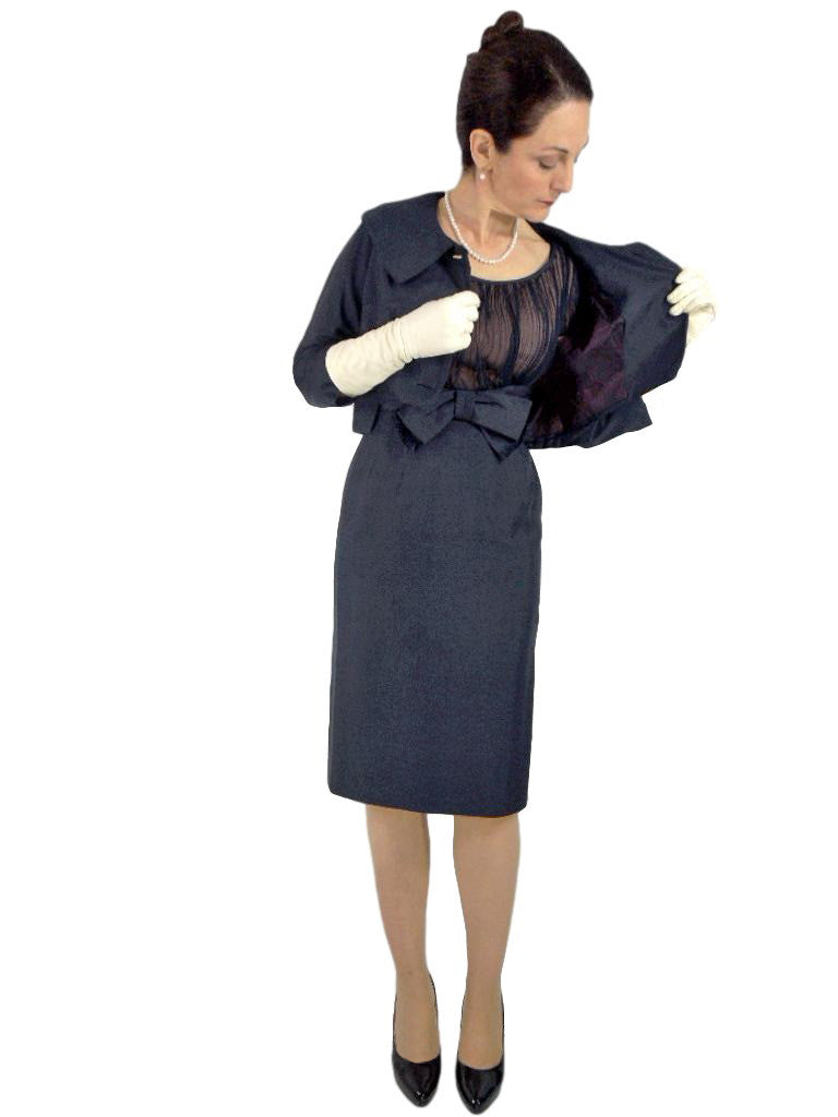 50s/60s Dress + Bolero Set in Navy Silk