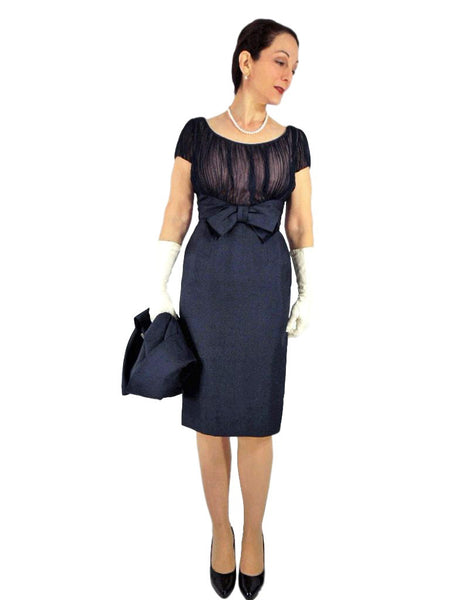 50s/60s Navy Silk Bolero and Dress Set - Dress