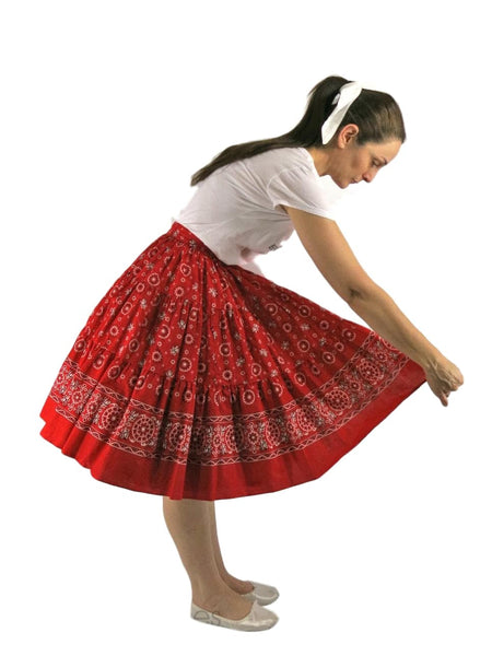 50s Red Bandana Print Full Circle Skirt - sm