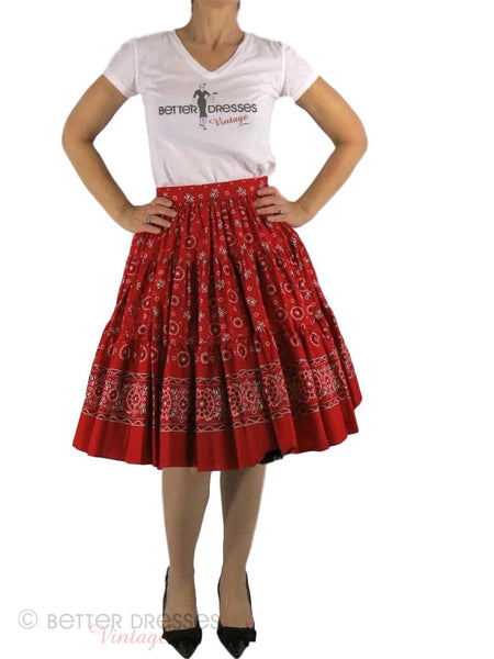 50s Bandanna Print Circle Skirt - front with crinoline