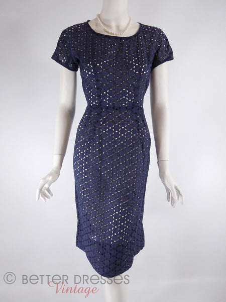 50s Navy Eyelet Sheath Dress - no slip