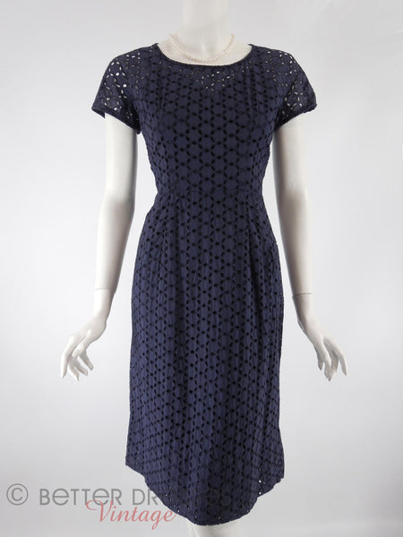 50s Navy Eyelet Sheath Dress - with slip, front