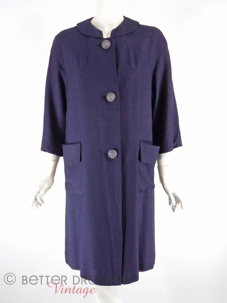 60s Navy Blue Swing Coat - front