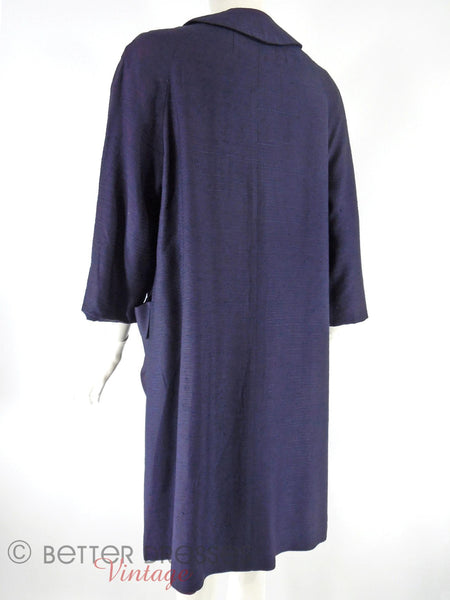 60s Navy Blue Swing Coat - bk