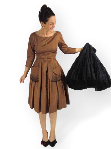 50s Silk Party Dress without crinoline