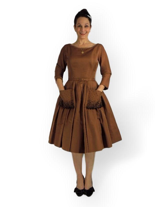 50s Silk Dress with Pockets