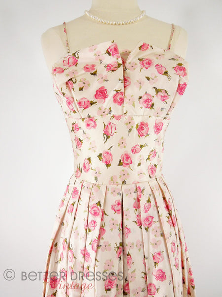 50s Silk Party Dress With Pink Roses - close