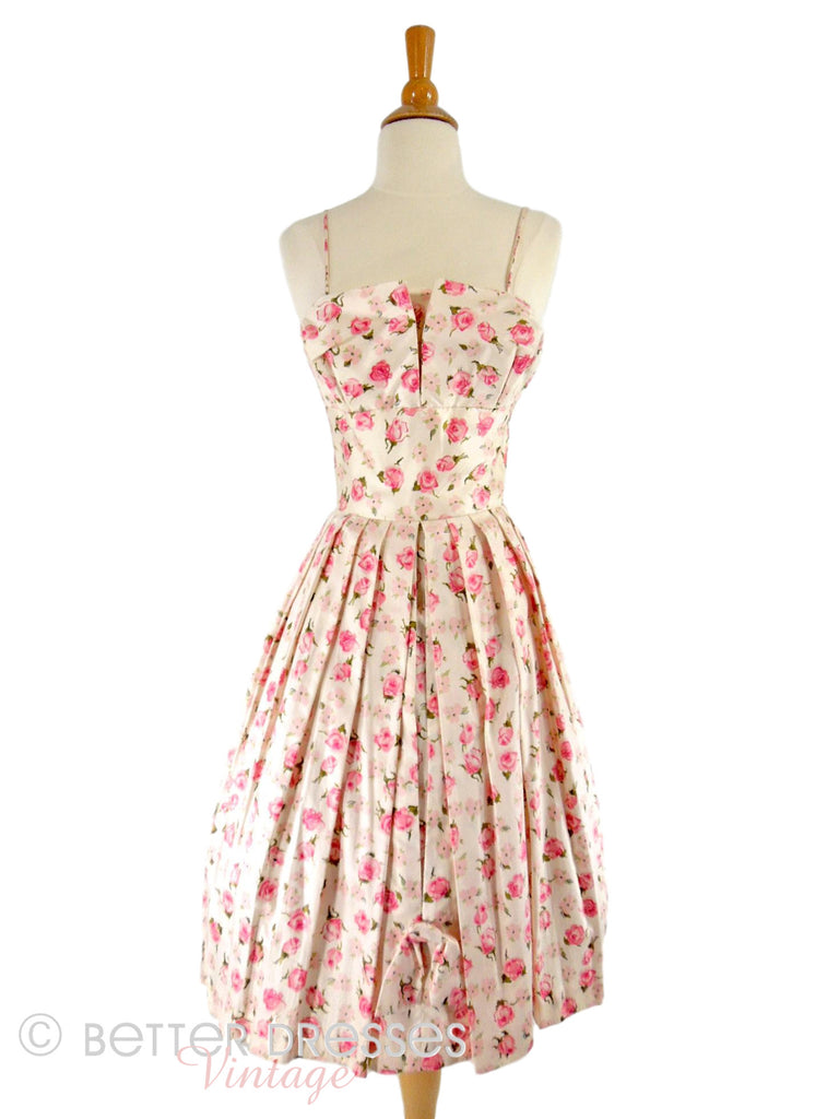 50s Silk Party Dress With Pink Roses - front