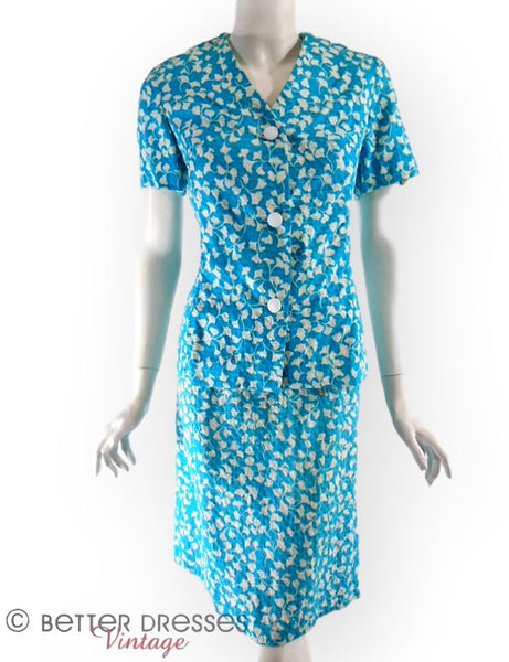 60s/70s Blue Dress & Jacket Set - med