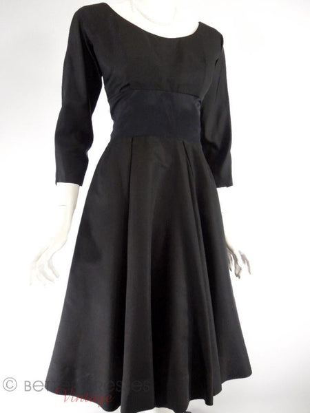 50s New Look Black Silk Party Dress - sm