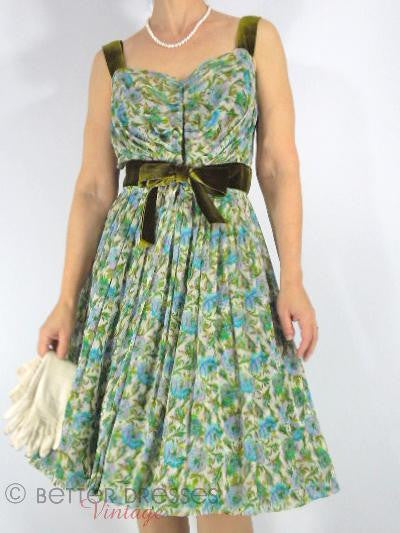 Vintage silk floral dress in blue and green.