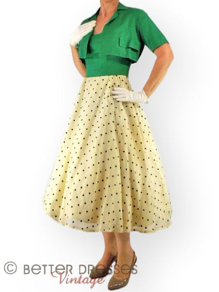 50s Green Polka Dot Halter Dress & Bolero -