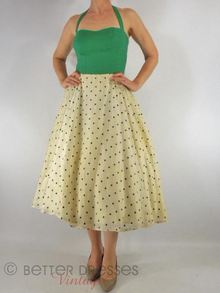 50s Green Polka Dot Halter Dress & Bolero - dress on model