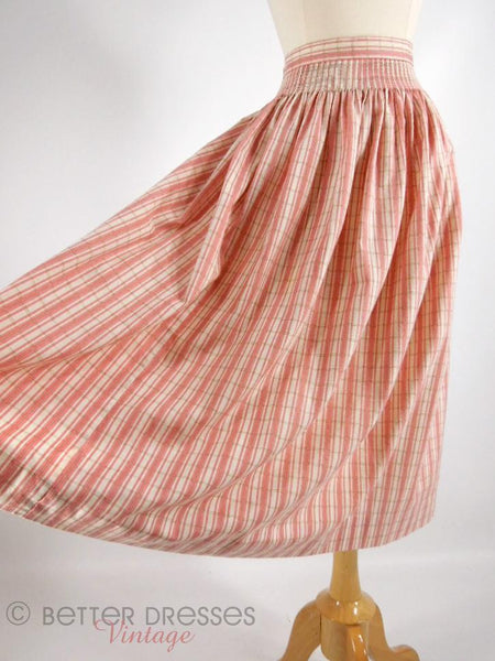 Vintage Full Skirt in Pink Ticking Stripe Plaid - sm