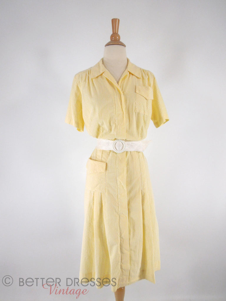 60s/70s Seersucker Dress - front with wide belt