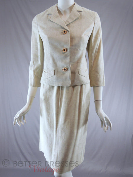60s Oatmeal Skirt Suit - front