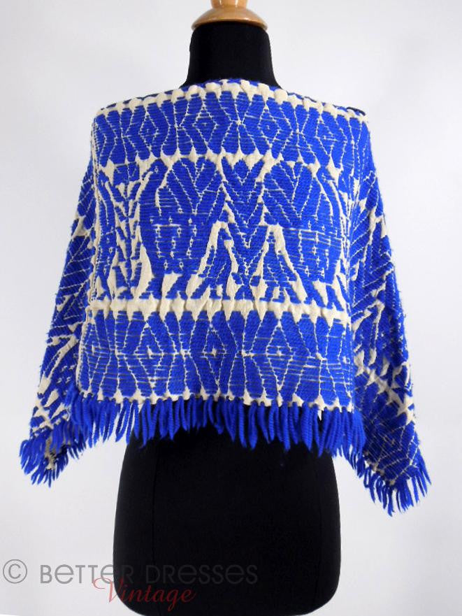 50s or 60s Mexican Blue Wool Poncho