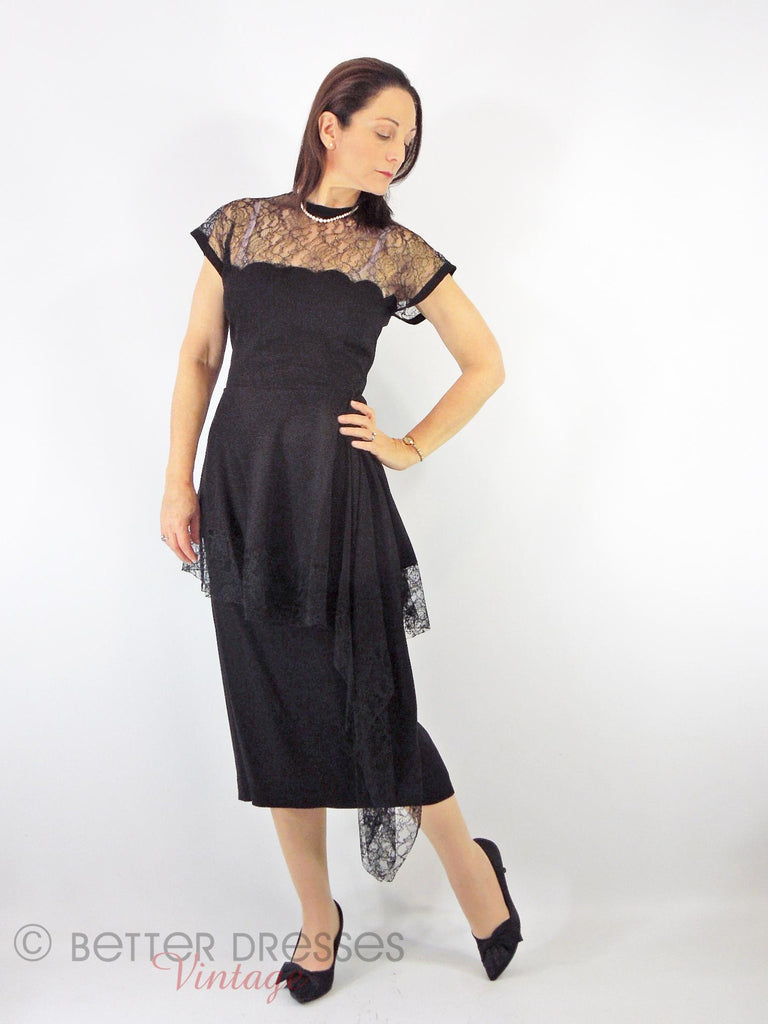 50s Lace Bodice Sheath Dress - on model