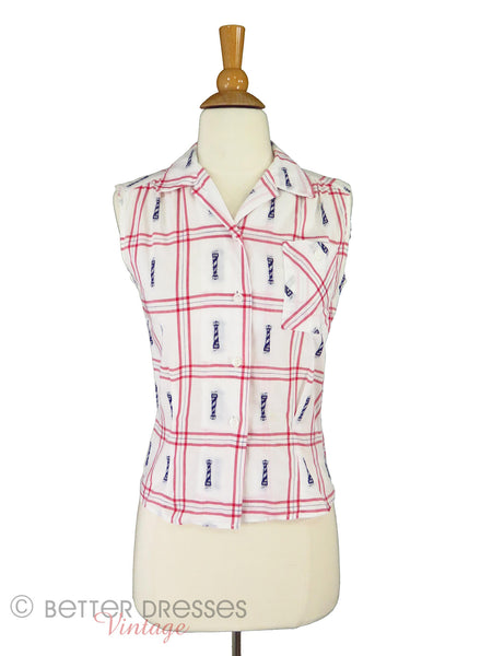 50s Sleeveless Blouse - front