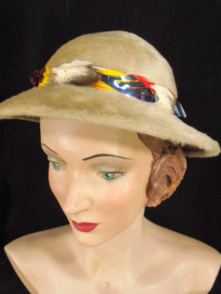 Vintage 1960s Fur Felt Hat With Colorful Feather Band By