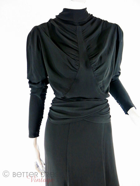 30s Black Crepe Gown - front detail