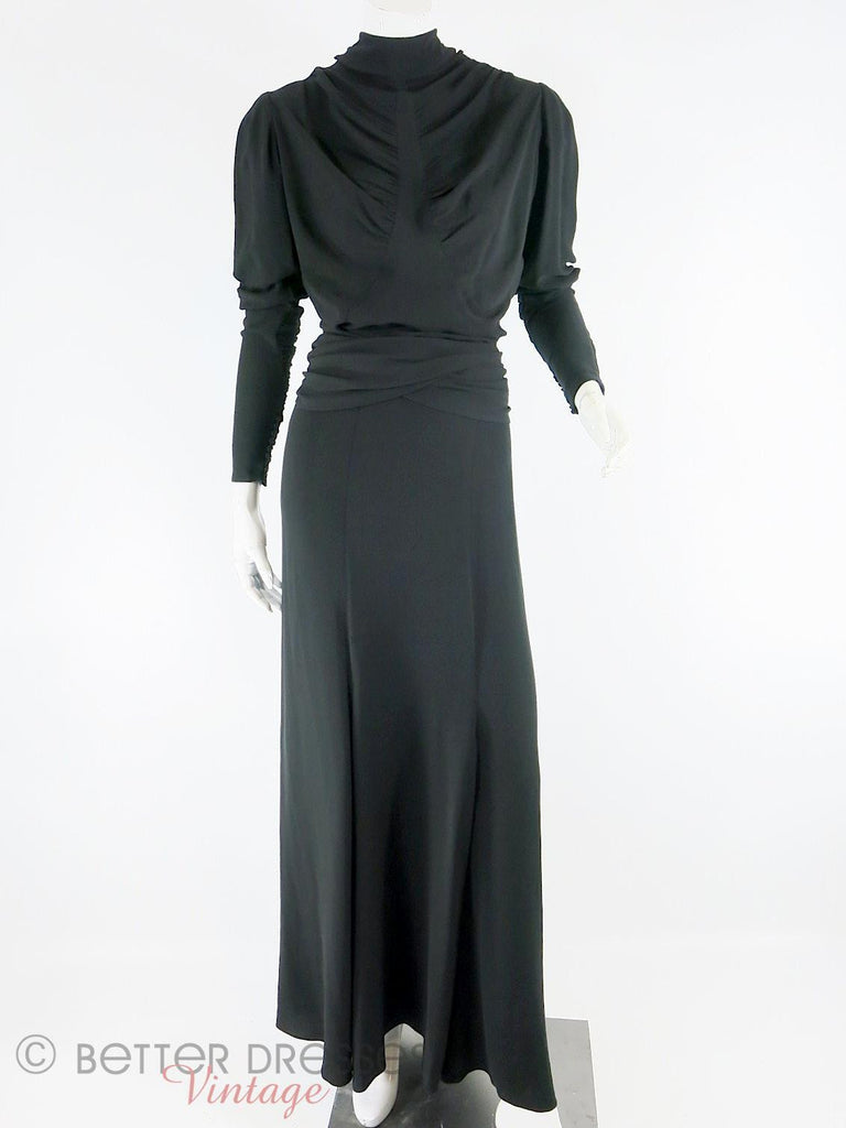 30s Black Crepe Gown - full view