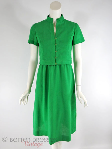 Vintage Ivey's Green Dress and Jacket Set - front