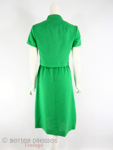 Vintage Ivey's Green Dress and Jacket Set - back