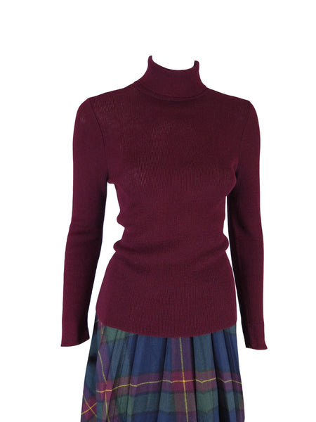 60s Burgundy Turtleneck Sweater - front