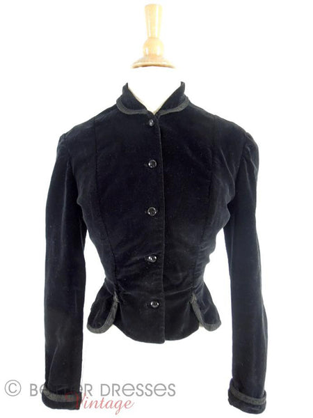 50s Black Velvet jacket - front view