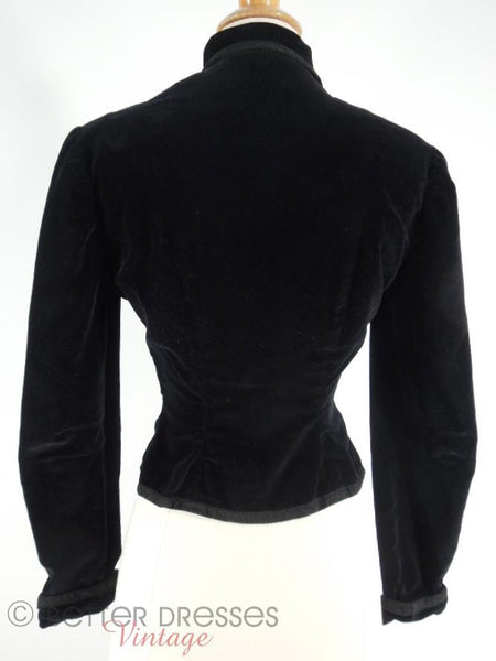 50s Black Velvet Jacket - back view