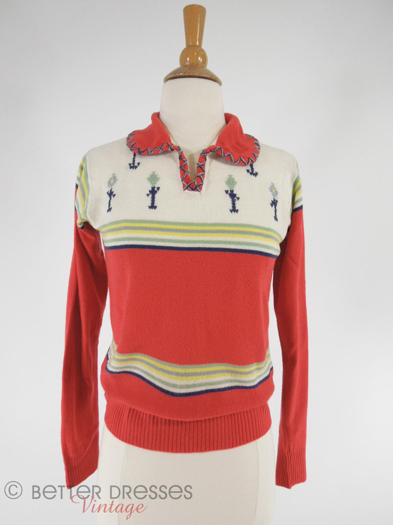 70s Embroidered Sweater - sm, med