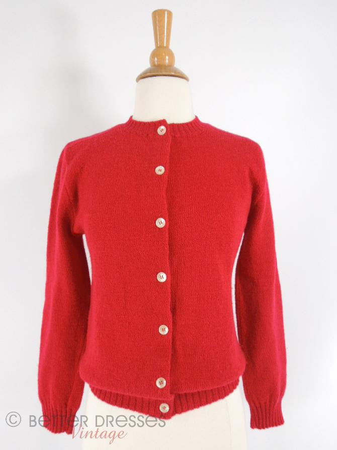 60s Red Wool Cardigan - front