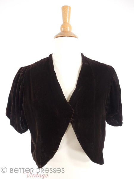 1930s Silk Velvet Jacket - front view