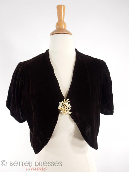 1930s Silk Velvet Jacket - shown with Trifari brooch