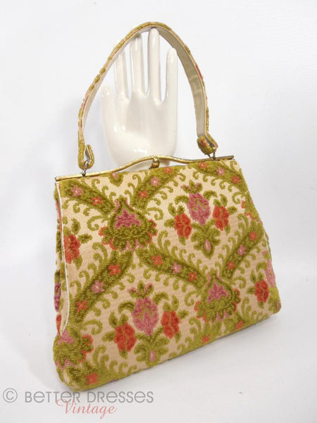 Vintage 1950s Or 60s Chenille Frame Purse Carpet Handbag