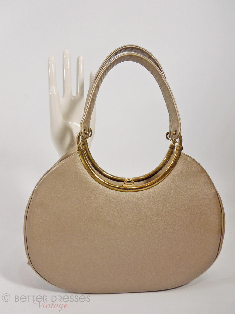 60s Shimmery Patent Taupe Frame Purse - front/back