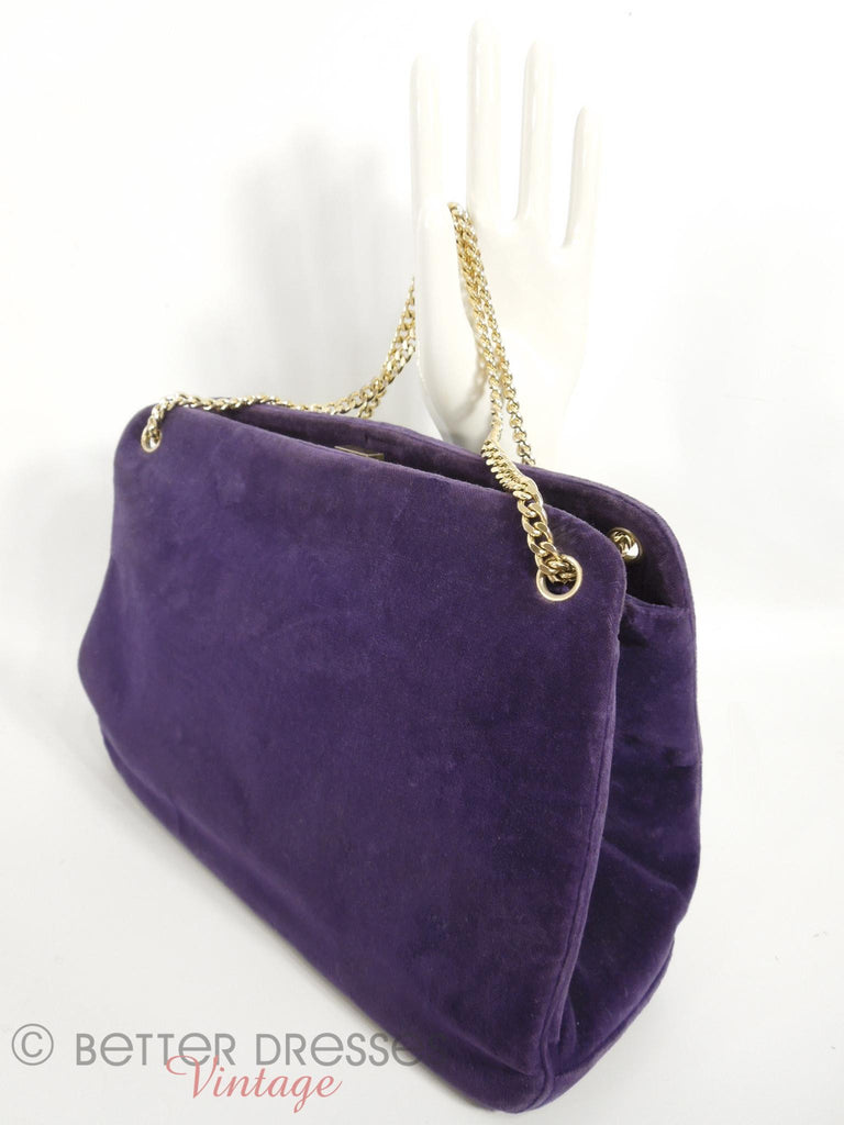 50s/60s Purple Velvet Frame Purse - angle