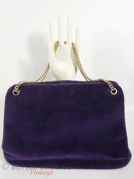 50s/60s Purple Velvet Frame Purse - other side handles up
