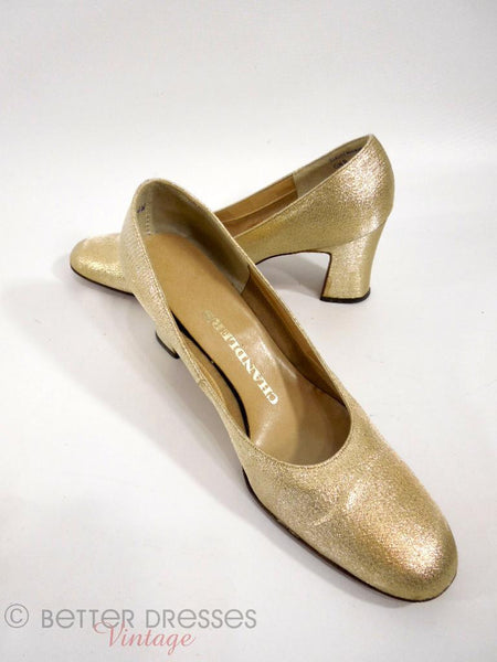 60s Mod Pumps in Gold Fabric -
